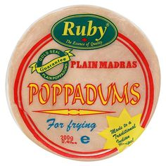 Ruby poppadums (uncooked).  Asian shops, and ocado/waitrose sell them. Really cheap and I think I prefer them to sharwoods.
