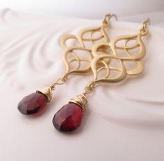 Mozambique Garnet Gold Earrings by debannca on Etsy, $35.00