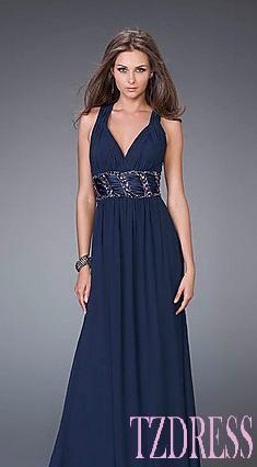 Cute Natural V-neck Chiffon A-Line Light Slate Gray Prom Dress