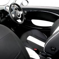 Mini r55 clubman sport lounge design black with white section  stitching 006
