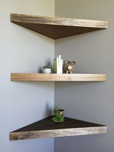 10 Attentive ideas: Floating Shelf Bedside Night Stands how to decorate floating shelves how to build.Floating Shelf Design Spaces floating shelf under tv how to build.Floating Shelf Under Tv How To Build. Corner Shelf Design, Diy Corner Shelf, Wood Corner Shelves, Bathroom Corner Shelf, Floating Corner Shelves, Floating Shelves Bathroom, Glass Shelves, Corner Shelves Bedroom, Corner Closet