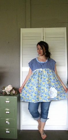 Large XLarge 1X 2X Baby doll Smock upcycled by lillienoradrygoods, $62.50