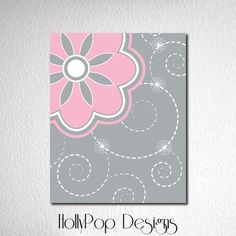 Pink Gray Nursery Theme Idea Baby Girl Bedroom by HollyPopDesigns