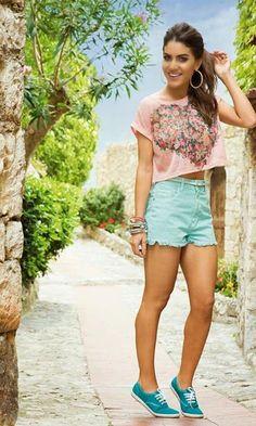 Look: Camila Coelho - Summer Comfy. Moda it, modait, fashion, style, look do dia, ootd, short verde, tenos, keds.