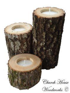 $18 3 Rustic wood candle holders sticks for votive candles, weddings, decoration, decor, natural tree branch, log candle holders