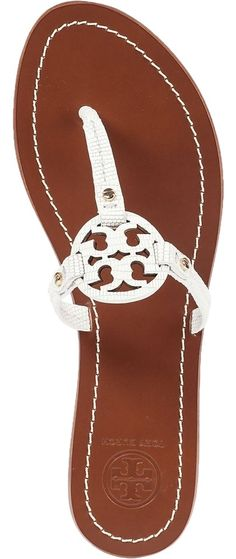 55c6812ef Tory Burch White In Box and Dust Bag Mini Miller Mirco Tejus Print Flat  Leather Sandals Size US 10 Regular (M
