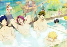 Free! ~~ I don't know what I love more about this image: the image on the wall, flirty Nagisa, precious Haru in his own little pool or Rei and Rin bonding.