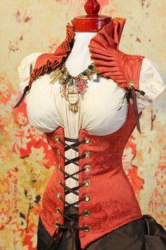 Autumn Orange Ruffle Collar Vixen Corset by damselinthisdress