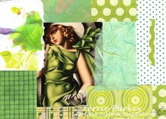 Creative Explorer:  Vixen  - green collage for my 365 collages in 2013