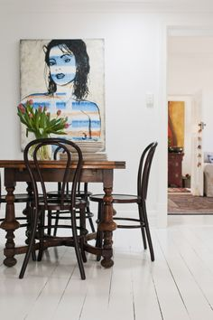 white-painted floorboards, bentwood chairs and a david bromley painting Painted Floorboards, White Floorboards, Painted Floors, David Bromley, Bentwood Chairs, Flamboyant, Ancient Art, Painting Inspiration, Home Art