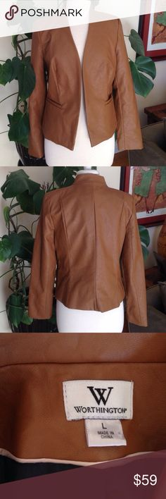 """Worthington Brown Faux Leather Jacket Worthington, faux leather jacket. Size large. Two front pockets, no closure, no collar. Measurements: length: 23"""", bust (armpit to armpit) 19"""". Pre-loved, beautiful condition (minimal wear). Worthington Jackets & Coats"""