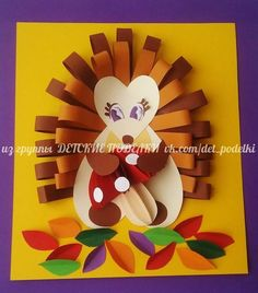 Com Board: Halloween Fall Paper Crafts, Autumn Crafts, Fall Crafts For Kids, Autumn Art, Kids Crafts, Art For Kids, Autumn Activities, Art Activities, Hedgehog Craft