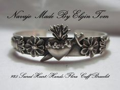 """Del Corazon Collection"" Sacred Heart/Hands/Floral Cuff by Navajo Elgin Tom"
