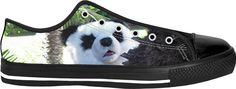 CUSTOM BLACK LOW TOPS SNEAKER. The Giant Panda is one of the world's most beloved as well as endangered species!  From each sale of this shoes, the artist who created this design will donate one US Dollar to the WWF, the primary international conservation organization protecting pandas and their habitat. Guaranteed!