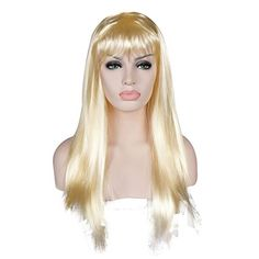 Cosplayvoice 60CM Long Straight Light Blonde Lady Anime Party Wig * To view further for this item, visit the image link.
