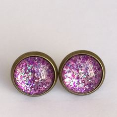 Pink glam earrings✨ Handmade earrings with sparkling glitter under glass domes. Size is slightly less than 1/2 inch or 12 mm $8 each pair   3 pairs x$15 If you are interested in buying more than one, I can make a separate  list for you :) No trades please. Price as listed Jewelry Earrings