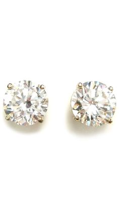 14 Kt. Gold Plated 3 Carat Huge Solitaire Studs by Bling by Wilkening
