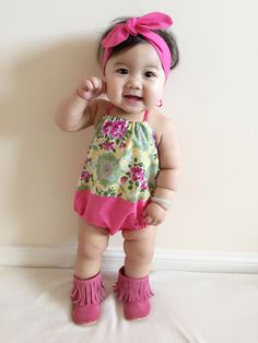 Floral Boho Baby Girl Romper with knotted headband by BubbyMakesThree on Etsy https://www.etsy.com/listing/235097785/floral-boho-baby-girl-romper-with
