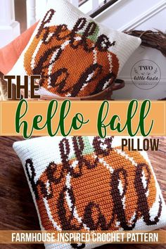 Newest Cost-Free Crochet pillow farmhouse Thoughts fall crochet pillow pattern, crochet pattern for fall, diy fall decor, crochet pumpkin pattern, hel Crochet Pumpkin Pattern, Crochet Pillow Pattern, Crochet Patterns, Crochet Ideas, Crochet Projects, Tapestry Crochet, Knitting Patterns, Afghan Patterns, Wood Patterns