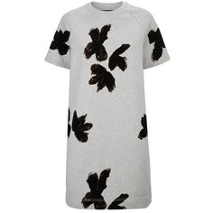 Marc by Marc Jacobs Grand Floral Sweatshirt Dress (350 CHF) ❤ liked on Polyvore featuring dresses, short dress, raglan dress, mini dress, floral print dress, short dresses and cotton mini dress