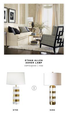 @ethanallen Asher Table Lamp $799 vs @luluandgeorgia Linley Lamp $284 | Copy Cat Chic look for less