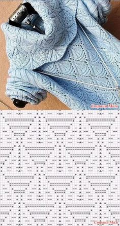Beautiful pattern for pullover Lace Knitting Patterns, Knitting Stiches, Baby Hats Knitting, Knitting Charts, Loom Knitting, Knitting Designs, Crochet Stitches, Stitch Patterns, Knitted Blankets