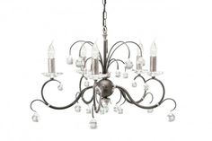 Elstead Lunetta 5 Light Chandelier - in a black/silver finish. Decorated with 30% lead crystal cut glass spheres http://www.purelecelectricalsupplies.co.uk/Elstead-Lunetta-5-Light-Chandelier-Black-Silver