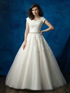 cd784785d9f4 Bridal Gown, Belt Attached, Lace Ball Gown, Petal Sleeves. Veronica Michaels