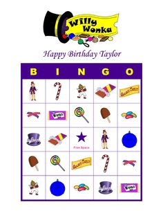 Willy Wonka and the Chocolate Factory Personalized Birthday Party Game Bingo Cards Delivered by Email Willy Wonka, Wonka Wonka, Wonka Chocolate Factory, Charlie Chocolate Factory, Candy Theme, Candy Party, Bingo Party, Game Bingo, Photos Booth
