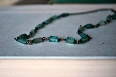 Tourmaline Gemstone Necklace  Sterling Silver Wire by letemendia, $75.00