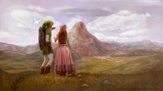 Link, Navi the fairy, and Malon - The Legend of Zelda: Ocarina of Time; fan art by *AlineMendes on deviantART