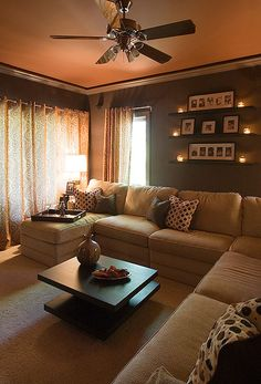 Cozy living room! based on paint colors and light fixtures, I think I could make my front room look similar to this. this looks cozy and cute!