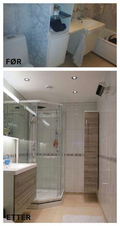 Dette gamle #badet har fått en skikkelig oppfriskning, med lyse #fliser og ny #baderomsinnredning.