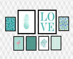 Este kit contém:  -2 pôsters em 21,00 x 29,7 cm (A4) e  -6 pôsters em 14,85 x 21,00 cm (A5).  Impressão de alta qualidade em Papel fotográfico Glossy de gramatura 260.  **Moldura não inclusa.**  -Dúvidas ou arquivo digital, consulte-me por mensagem. :) Black And White Photo Wall, Free Prints, Tiffany Blue, New Homes, Tropical, Wallpaper, Frame, Room, Diy