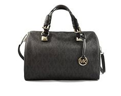 MICHAEL Michael Kors Womens Grayson Faux Leather Satchel Handbag Black Large *** Check this awesome product by going to the link at the image.Note:It is affiliate link to Amazon.