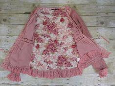 Anthropologie-Hazel-Medium-Rose-Pink-Cardigan-Sweater-Sequins-Boho-Victorian