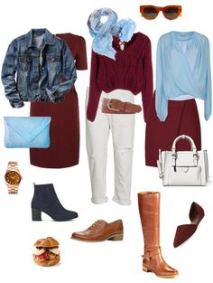Ensemble from You Look Fab: Dark Red and Light Blue. Transitioning from summer to fall. Fall Wardrobe, Capsule Wardrobe, Cardigan Azul, Looks Style, My Style, Burgundy Outfit, Light Blue Color, Dark Red, Bordeaux