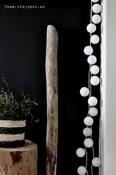Wood, green plant, black, white, happylights ♥