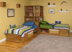 Corner cubby bed available in maple or oak. Twin size. Shown with optional bookcase hutches. Customize the beds with drawers,doors,pullouts, roll out trays and baskets.
