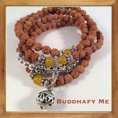 Bodhi-Bead With Carved Tibetan Silver Beads bracelet/necklace by Buddhafy Me. Inspirational Jewelry