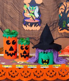 Jack-o-Lantern and Witch Canister Crafts