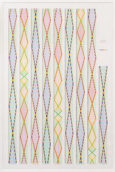 Channa Horwitz, Sonakinatrography XVIII, 1991. Casein and ink on mylar, 54 × 39 in. (137.2 × 99.1 cm). Estate of Channa Horwitz. Courtesy of the Estate of Channa Horwitz and François Ghebaly, Los Angeles. ©Channa Horwitz. Photograph by Robert Wedemeyer