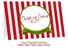 christmas table tent cards http://bakesaleflyers.com/bake-sale-table-tent-cards/