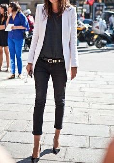 {STYLE INSPIRATION} Perfect outfit to wear to work on a Friday and then head out for drinks afterwards!! Love all black, teamed with a white blazer!!