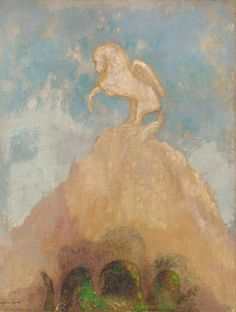 Odilon Redon (French, 1840-1916), Pégase blanc. Oil on canvas, 25¾ x 19¾ in. (65.4 x 50.2 cm.)