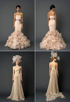 More Vera Wang. Gorgeous tailoring on the bottom one with the crazy head-wear.