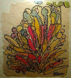 I seguim  octubre 2000  paper fet a mà  colorant retolador Dolors Buch Castañer