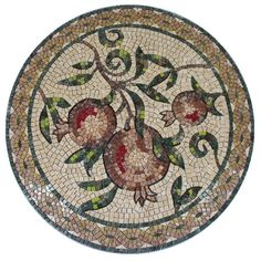 "One of a mosaic medallions series which presents the seven species Israel has been blessed with. Suitable for the decoration of institutions, synagogues, etc. ""like halves of a pomegranate behind your veil."" (Song of Songs 4:3) Stones: natural, artificial Stone size: 04, 06, 10 mm Complexity: 300 Size: 80 cm diameter"