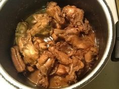 Slow cooker Chicken Adobo. I edited the recipe for a lesser serving size, but found that the amount of sauce was going to be too little. So I kept adding more of the liquid ingredients, tasting along, until it was going to be enough and until it tasted right. There is only one dish that I love extra sauce with and it is this one. Yum.