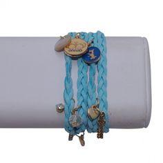 Leather Wrap Bracelet with Charms – Light Blue #bracelets #fashion #jewelry  9thelm.com